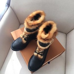 Warm suede boots for Women online shopping - WONDERLAND Flat bottomed Boots Winter Metal Button Magic Tie Shoes with Round Head Flat bottomed Sheepskin Fur for Warm Winter Boots
