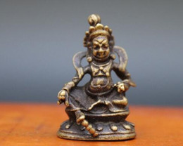statue tibetan UK - 3.5 CM Tibetan Bronze Amulet Yellow Jambhala Zambala god of wealth Buddha Statue