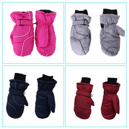 Toddler Kids Winter Snow Ski Gloves Waterproof Windproof Solid Color Patchwork Thicken Warm Adjustable Stretchy Mittens 5-9T on Sale