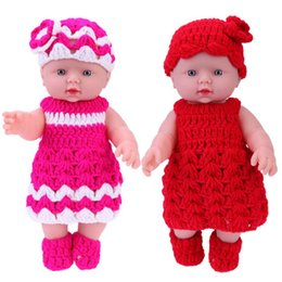Pvc outfits dresses online shopping - Accessories Dolls cm Vinyl Baby Dolls Kids Bathing Playmate Children Simulation Doll Knit Dress Outfits Baby Toys for Girls