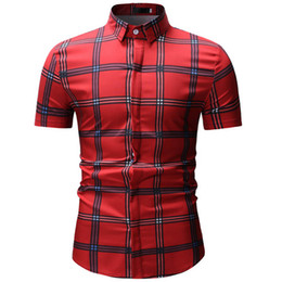 $enCountryForm.capitalKeyWord UK - 2019 Men's plaid pocket shirt new design slim men's short sleeve dress shirt casual Chemise Homme Camisa Social 3XL