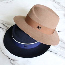 men dress hats 2020 - Wide Brim Women Hat Australian Wool Warm Fedora Hat Ladies Panama Cloche Floppy Ribbon Band Wedding Dress Hats discount