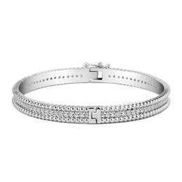 Steel Ceramic Diamond Ring UK - Wedding Party beaded pearl gift woman lady diamond jewelry Bracelet for bride acting initiation graduation CDE-1473