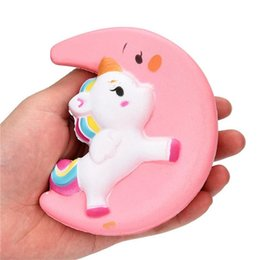 Science Pendants UK - INS Squishy Slow Rising Unicorn Moon Flash Powder Charms Jumbo Kawaii Phone Straps Pendant Stress Reliever toys kids Christmas Birthday Gift