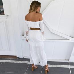 $enCountryForm.capitalKeyWord Australia - Summer Women White Beach Dress Elegant Off Shoulder Slash Collar Bell Sleeve One Color Cotton Fabric Breathable Full Sleeve Lace Dress