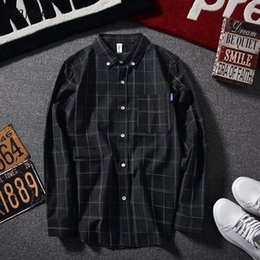 Korean style men s shirts online shopping - Shirts Men Plaid Long Sleeved Simple All fmatch Korean Style Trendy Shirt Mens Ulzzang Retro Students Daily Leisure