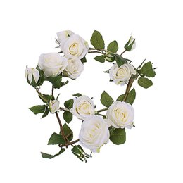 artificial white rose vine NZ - Artificial Wall-Mounted Rose Vine for Wedding Ceremony Party Fake Flowers Home Garden Decoration Fake Rose DIY Decoration FEB26