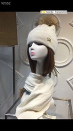 white horse hair Australia - Top Quality Celebrity Wool thread knitting Scarves Hat women winter Letter check plaid Hairball horse hats scarf 2pc 80186161 white