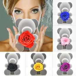 lovely gifts for girlfriend Australia - Lovely Grey Teddi Bear Preserved Rose Flower Handmade 7 Color Rose In Box Love Artificial Flower Gifts for Girlfriend Christmas