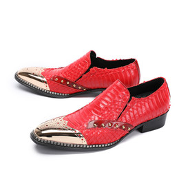Red Dress Shop Australia - Red Casual Men Indian Wedding Dress Shoes Men Metal Toe Handmade Leather Banquet Loafers Party Flat 38-46 Drop Shopping