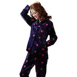 bc4da7cee93 Women Flannel Pajamas Set Winter Pyjamas Long Sleeve Turn-down Collar Soft  Sleepwear Thick Warm Big Size M-XXL Pijama Mujer