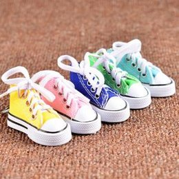80e169b491e2 Charming Sneaker Australia - Mini Canvas Shoes Keychain Bag Charm Woman Men  Key Ring Key Holder