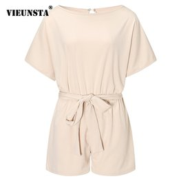 Elegant Jumpsuits Sleeves Australia - Vieunsta Summer Beach Romper Women New Fashion Belted Elegant Office Overalls Casual O Neck Short Sleeve Jumpsuit Solid Playsuit Q190521