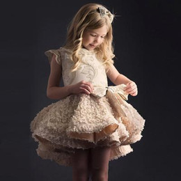 little girls mini skirts images NZ - Fashion hi low little girls pageant dresses in stock gold embroidery first holy communion dresses Cap Sleeves Cheap Children Skirts