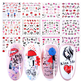 Valentine Lip Australia - 12pcs Romantic Valentines Water Decals Sliders Nail Art Decorations Stickers Sexy Lips Flower Heart Tattoo Wraps JIBN1069-1080