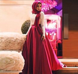 $enCountryForm.capitalKeyWord Australia - 2017 Fashion White Red Muslim Prom Dresses Long Sleeves Hijab Evening Gowns Lace Satin Floor Length Plus Size Saudi Arabic Party Dresses