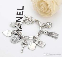 925 silver key charms online shopping - Love Heart Alloy Key Bracelets Gem Sterling Silver Gold Plated Pendants Charm Bracelets Bangle Jewelry For Men Women B029