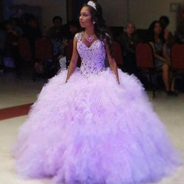 $enCountryForm.capitalKeyWord Australia - Lilac Sweetheart Quinceanera Dresses Crystals Beaded Ruffles Tiered Ball Gown Organza Quinceanera Dresses Sweet 16 Ball Gowns BA6027
