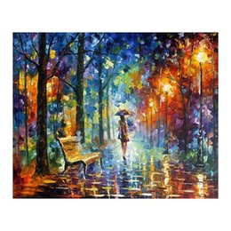 "European Style Room Oil Paint Australia - 24""*36""Hand-painted canvas oil painting sitting room scenery and romantic european-style hang a picture to the walking on the street"