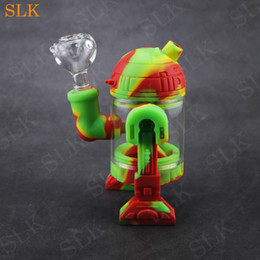 $enCountryForm.capitalKeyWord Australia - Siliclab new arrival Robot design cool water pipe glass acrylic belly silicone case bubbler bong mini smoking pipes for tobacco