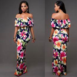 c85acf2a553 Cheap Autumn Maxi Floral Printed Dresses Women Long Dresses 2019 Off The  Shoulder Beach Dresses Sheath Bodycon Holiday Dress S-5XL
