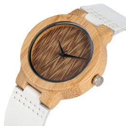 $enCountryForm.capitalKeyWord UK - Women Watch Bamboo Wooden Watch Natural Lightweight Wooden Wrist Simple Clock Women White Leather Band relojes para mujer