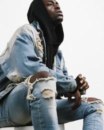 Ingrosso 2019 Designer Slim Fit Jeans Strappati Uomini Hi-Street Mens Distressed Denim Joggers Fori Del Ginocchio Lavato Jeans Distrutti Plus Size spedizione gratuita