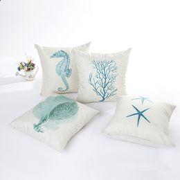 Ocean Pillow Case NZ - Ocean Park Theme Outdoor Pillow Cover Cushion Cover Set Cotton Linen for Sofa Bedroom Car 18 x 18 Inch 45 x 45 cm Pillow Case