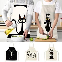Многофункциональная Кухня Фартук Смешные Cat печатных рукава Хлопок Льняных фартуки для мужчин брачной Очистки инструментов DHL WX9-1897 на Распродаже