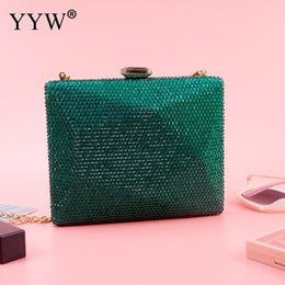 Wholesale Green Evening Clutch Purse Box Bag With Chain Handbags Female Night Clutch High Quality Party Shoulder Crossbody Bags Sac A Dos