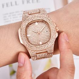 Silver Luxury Watches Diamond Women Australia - Hip Hop Bling Diamond Watch Men Rose Gold Stainless Steel Mens Quartz Wrist Watches Women Waterproof Relogio Masculino Xfcs Gift Y19061905