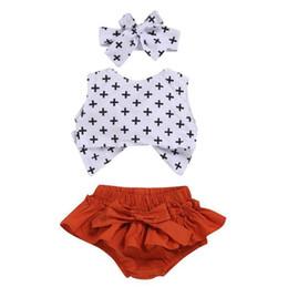 $enCountryForm.capitalKeyWord NZ - kids clothing 2019 baby Summer Wave point fashion T shirt+shorts+Hair baby girl clothes 3 piece Set kids designer clothes girls