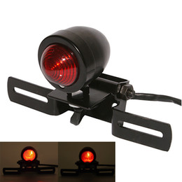 lamp holder 12v UK - Motorcycle Tail Light Retro PC Lens Brake Lamp Stop Light License Plate Holder 12v Universal Fits Moto Chopper Cruiser Bobber