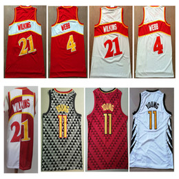 b99b60d04aaf NCAA 2019 Men  4 Spud Webb jersey  21 Dominique Wilkins 11  Trae YoungRed  White Color throwback Basketball Jersey Embroidery