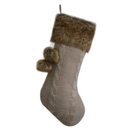 a0967ea12 Free shipping Cable Knit Christmas Gifts Socks Christmas Decoration  Knitting with Faux Fur Cuff Christmas Stockings