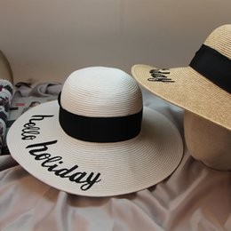 7bb93ba2 embroidered straw hats 2019 - Straw hat female summer Korean version of the  foldable hat big