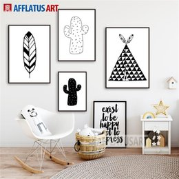 $enCountryForm.capitalKeyWord Australia - Tent Cactus Feather Nordic Poster Wall Art Canvas Painting Black White Posters And Prints Wall Pictures Kids Room Decor
