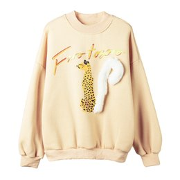 Chinese  PERHAPS U yellow beige lovely squirrel print fur o neck sweatshirts pullovers casual spring H0052 manufacturers