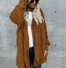 $enCountryForm.capitalKeyWord Australia - 2018Womens Faux Fur Jackets Outerwear Winter Hooded Velvet Coats Pocket Design Loose Coats Women Clothing Warm Soft Outerwear Tops