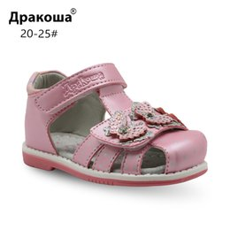 $enCountryForm.capitalKeyWord NZ - Apakowa Brand Classic Orthopedic Sandals Pu Leather Toddler Kids For Girls Closed Toe Baby Flat Shoes Eur 20-25 New Q190601