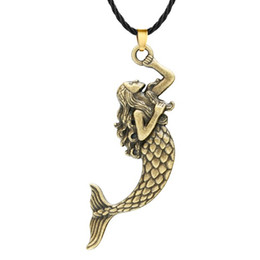 fish jewelry UK - Huilin Jewelry Beautiful Curly Hair Mermaid Necklace Pendant for Women Men Charm Swimming Princess Fish Tail Necklace Sea Ocean Jewelry