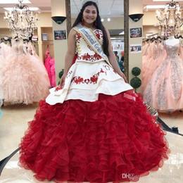 $enCountryForm.capitalKeyWord Australia - Embroidery Red Ball Gown Quinceanera Dresses Sweetheart Neck Prom Gowns Rhinestones Organza Cascading Ruffles Sweet Pageant Dress