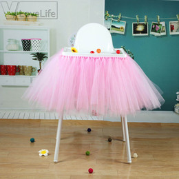 tulle decorations for birthday parties NZ - JH High Quality100cm X 35cm Tutu Tulle Table Skirts Baby Shower Birthday Decoration For High Chair Home Textiles Party Supplies