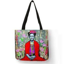 $enCountryForm.capitalKeyWord NZ - Dropshipping Personalized Artist Painter Tote Bag Linen Bag With Print Women Fashion Handbag Eco Reusable Shopping Bags