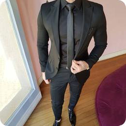 Beige Slim Suits For Men Australia - Custom Black Groom Tuxedos Slim Men Suits for Wedding Peaked Lapel Man Blazer Jacket Pants 2Piece Prom Party Terno Masculino Costume Homme