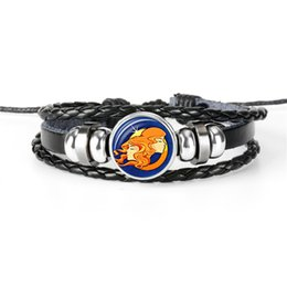 Gem Men Australia - Exquisite 12 Constellations Zodiac Gemini Time Gem Glass Cabochon Leather Rope Bead Woven Bracelet Women Men Personality Valentines Day Gift