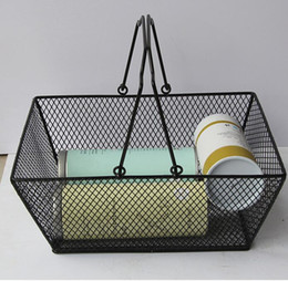 basket handles wholesale NZ - Metal Shopping Basket Cosmetics Storage Baskets With Handle Iron Wire Mesh Shopping Food Fruits storage Basket GGA2884
