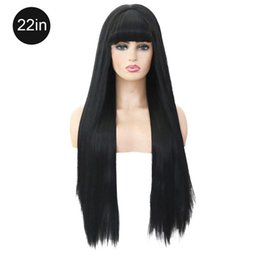 Discount silky soft wigs - Women's Silky Long Straight Black Wig High Quality Natural And Soft Heat Resistant Synthetic Wig With Bangs Hair Fo