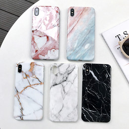 ingrosso iphone xr cassa del telefono di marmo-Custodia in marmo per iPhone XS MAX Cover morbida in TPU per iPhone S Plus Cover posteriore per iPhone X XR