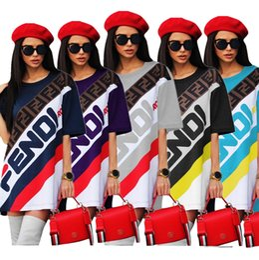 Straight t Shirt online shopping - Women Summer T Shirt Dress designer Sports Skirt F Letter Printed Short Sleeve T shirts Tee Dresses Casual Striped brand Short Skirt C436